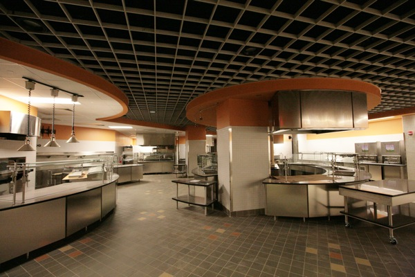 The servery in Community Hall is designed around a cook-to-order    Princeton Dorms Inside