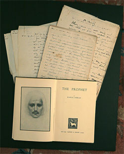 Collection of Kahlil Gibran manuscripts donated to the